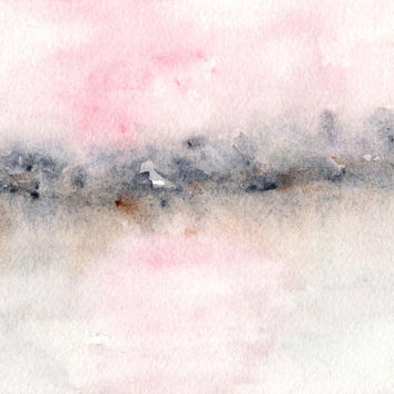 Landscape painting, watercolor painting, original landscape, watercolor landscape, sunset painting, sunset, pink, abstract landscape, 7X5