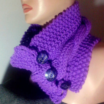 Hand Knit Cabled Braided Purple Cowl Neckwarmer Scarf with Buttons Fall Winter Women Men Clothing Accessory