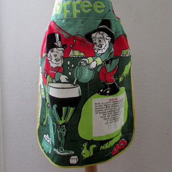 13-1104 Vintage 1960s Irish Coffee Apron / Vintage Linen Apron / Irish Coffee / Recipe Apron / St Patrick's Day Apron