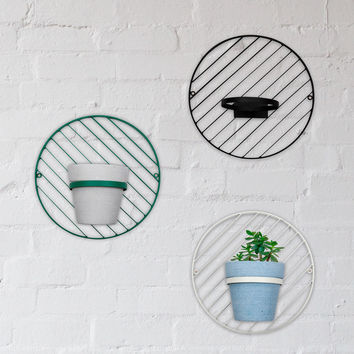 Down To The Woods | Round Wall Planter Black & White