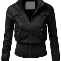 J.TOMSON Womens Faux Leather Rider Moto Jacket