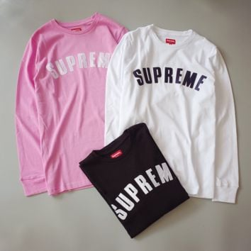 Autumn new supreme letter patch embroidery terry head sweater loose large size men and women lovers long - sleeved T