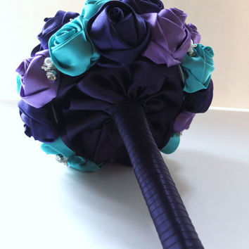 Fabric Bouquet, Satin Rose Bouquet, Peacock Bouquet,  Purple & Teal Satin Rose accented with rhinestone (Medium,  7 inch)