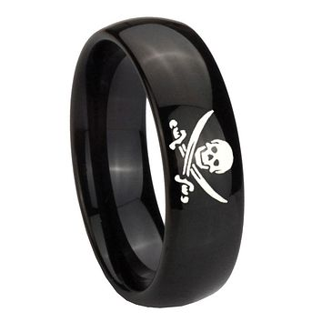 10MM Classic Dome Skull Pirate Shiny Black Tungsten Carbide Men's Ring