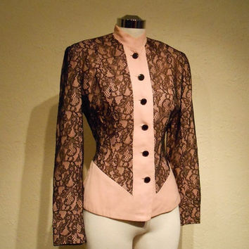 20% OFF PRE-SPRING Beauty Does as Beauty Wears - Wwii 1940s Pink Gabardine Jacket w/Black Lace Overlay - Steampunk