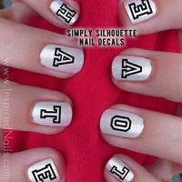Love Hate Block Style Nail Decals Black and Clear by InspiredNails