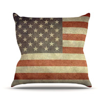 "Bruce Stanfield ""Flag of US Retro"" Rustic Outdoor Throw Pillow"