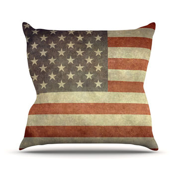 "Bruce Stanfield ""Flag of US Retro"" Rustic Throw Pillow"