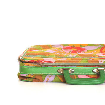 Pink Retro  Suitcase -  Colorful Patterned Vintage Luggage