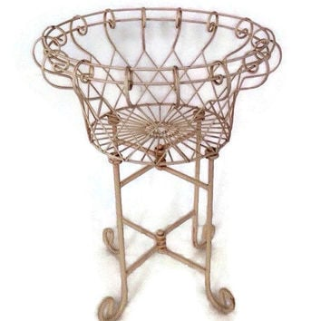 Retro Plant Stand-Standing-1940's-Cast Iron and Metal- Folding Stand-Beige-Home Decor-Plant Holder-Vintage-Wire Basket-Garden-Spring