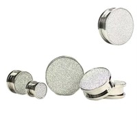 Stainless Steel Frosted Expander Gauge Ear Plug Tunnel Earring Black