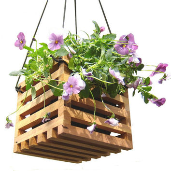 Hanging Planter Basket from Recycled Wood Garden Decor