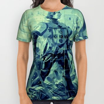 Portuguese history tile art All Over Print Shirt by Tony Silveira