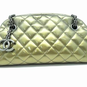 Chanel Quilting Patent Leather Silver Metal Shoulder Bag Copper