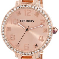 Steve Madden Women's SMW00035-03 Rose Gold Pyramid Link Bracelet Watch