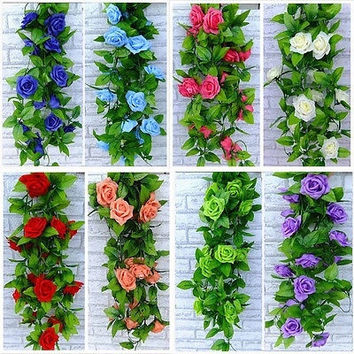 NEW Artificial Rose Garland Silk Flower Vine Ivy Home Wedding Party Garden Décor = 1932977540