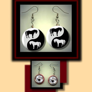HORSES YIN YANG Black and White Altered Art Dangle Earrings with Rhinestone