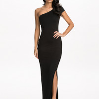 Black One Shoulder Sleeve Cap Bodycon Maxi Dress with Slit