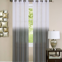 "Quintessence Set of 2 Ombre Sheer Window Curtain Panels (52"" x 63"") - Charcoal"
