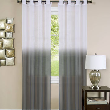 """Quintessence Ombre Sheer Window Curtain Panel (52"""" x 63"""") - Charcoal"""