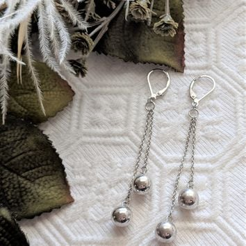 Artisan Crafted Long Sterling Silver Double Ball Chain Leverback Earrings