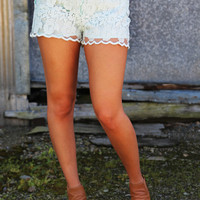 Lace Overlay Mint Shorts
