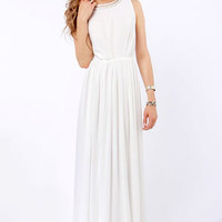 Take My Hand Ivory Beaded Maxi Dress