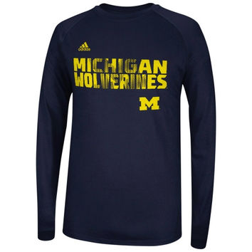 Michigan Wolverines adidas Youth Sideline Razor ClimaLite Long Sleeve T-Shirt – Navy Blue - http://www.shareasale.com/m-pr.cfm?merchantID=7124&userID=1042934&productID=546717729 / Michigan Wolverines