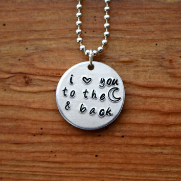 I love you to the moon and back  Hand Stamped by KennabelleDesigns