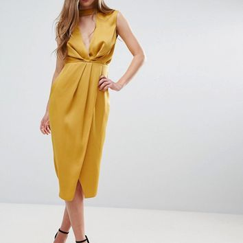 ASOS Floating Neck Drape Front Midi Dress at asos.com