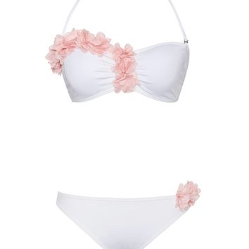 Marseille White and Pink Floral Two Piece Swimsuit