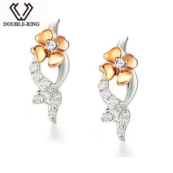 DOUBLE-R Flower 18K Gold earrings Fine Jewelry Romantic Ladies Bridal Wedding Real Diamond Earrings For Women Gift CAE00555A