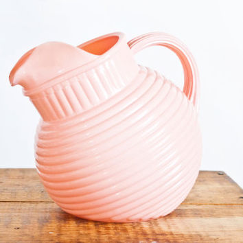"Vintage Anchor Hocking ""Rainbow"" Ribbed Pink Ball Pitcher, Fired on Glaze Water Carafe Round Juice Container, 1 QT"