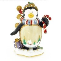 Christmas Gift Penguin Crystal Jewelry Trinket Box