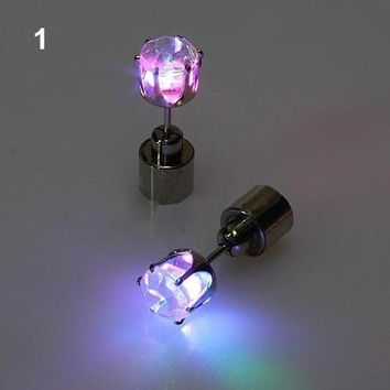 1Pair Women Men's Fashion Accessories Light Up Led Earring Studs Party Tool Cute Jewelry xdfg popular goods