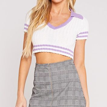 Best Of All Stripe Pattern Short Sleeve Ribbed Solid Collar V Neck Crop Pullover Sweater