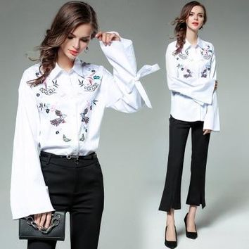 Women Flare Sleeve Embroidery Floral Shirt Elegant Turn Down Collar Striped Shirt Ladies OL Work Wear Office Blouse