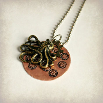 Steampunk Octopus Necklace - Copper with Stamped Gear Design and Small Bronze Finish Gear, 1 inch, Ready to Ship