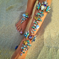Sandals Sexy Leg Chain Boho Crystal