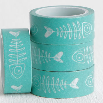 Turquoise and White Chalkboard Fish Washi Tape, 15mm x 5m