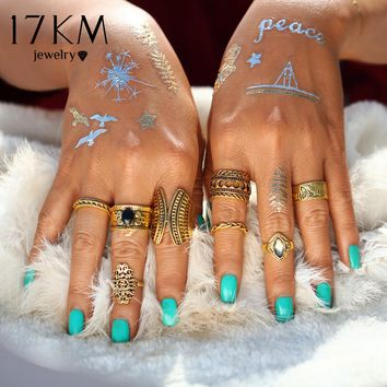 17KM Vintage Color Punk Tibetan Hollow Mix Midi Ring Sets New Design Boho Mujer Crystal Knuckle Rings for Women Man 8 PCS/Set