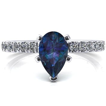 Nefili Pear Alexandrite 5 Prong 3/4 Eternity Diamond French Pave Engagement Ring