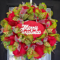 Whimsical Christmas Wreath, Christmas Door Hanger, Ready to Ship