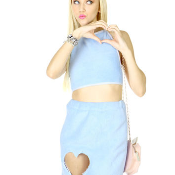 FUZZY BLUE HEART SKIRT AND HALTER SET - Blue