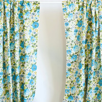 Pair of Vintage Chintz Blue Flower Print Curtains, House n Home Fabrics, Cottage Chic Drapes, Mid Century Decor