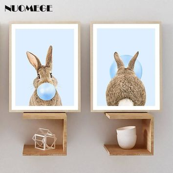 NUOMEGE Rabbit Bubble Gum Art Poster Prints Blue Nursery Wall Art Canvas Paintings Wall Picture Baby Animals Boys Bedroom Decor