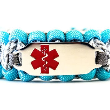 550 Paracord Bracelet with Engraved Stainless Steel Medical Alert ID Tag - Red Rectangle