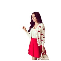 Fashion women's spring and autumn cherry embroidery round collar With sweater cardigan female show thin short coat