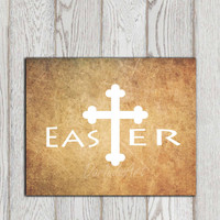 Christian Easter print Printable Christian Easter sign Christian cross Easter decor Vintage wall art poster Easter card INSTANT DOWNLOAD