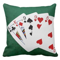 Poker Hands - Two Pair - King, Nine Throw Pillow